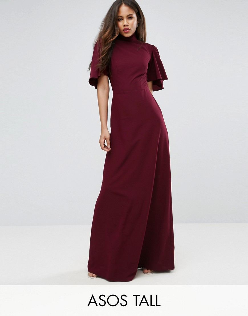 ASOS TALL Flutter Sleeve High Neck Maxi Dress - Scarlet red