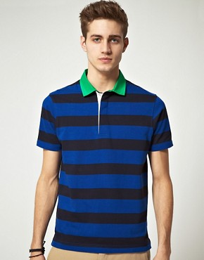 Image 1 ofASOS Polo Shirt  In Heavyweight Stripe Jersey With Woven Collar