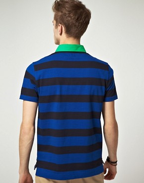 Image 2 ofASOS Polo Shirt  In Heavyweight Stripe Jersey With Woven Collar