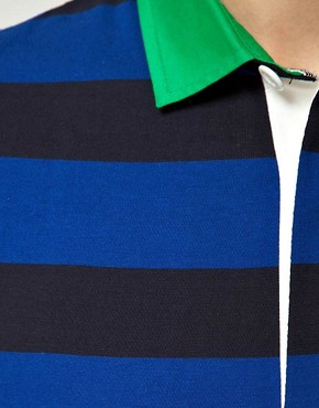 Image 3 ofASOS Polo Shirt  In Heavyweight Stripe Jersey With Woven Collar