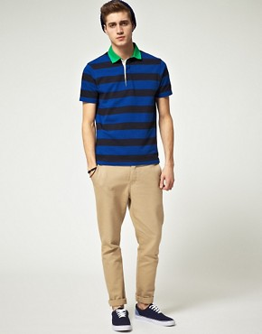 Image 4 ofASOS Polo Shirt  In Heavyweight Stripe Jersey With Woven Collar