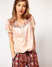 Maison Scotch Short Sleeve Western Shirt with Embroidered Yoke