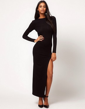 Image 2 ofASOS Maxi Dress with Thigh Split &amp; Scoop Back