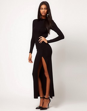 Image 4 ofASOS Maxi Dress with Thigh Split &amp; Scoop Back