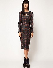 ASOS BLACK By Markus Lupfer Leather Midi Dress In Print