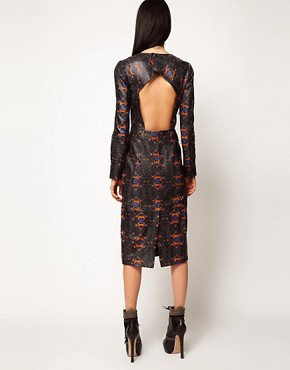 Image 2 ofASOS BLACK By Markus Lupfer Leather Midi Dress In Print