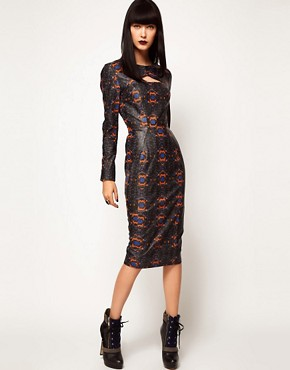 Image 4 ofASOS BLACK By Markus Lupfer Leather Midi Dress In Print