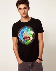 ASOS T-Shirt With Photographic Lips Print