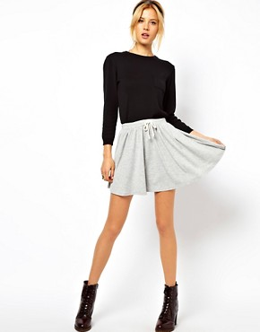 Image 1 ofASOS Skater Skirt with Drawstring Waist