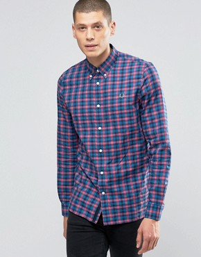 Fred Perry Shirt In Gingham Herringbone In Carmine In Slim Fit