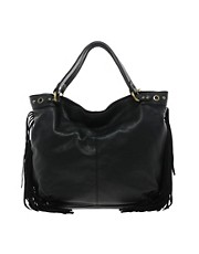 Mango Touch Large Leather Hobo Bag With Fringe