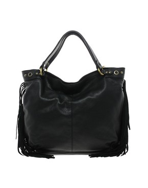 Image 1 ofMango Touch Large Leather Hobo Bag With Fringe