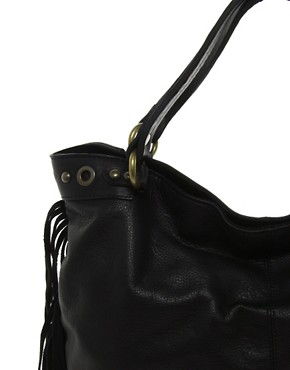 Image 4 ofMango Touch Large Leather Hobo Bag With Fringe