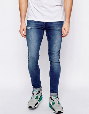 ASOS Extreme Super Skinny Jeans With Rip and Repair