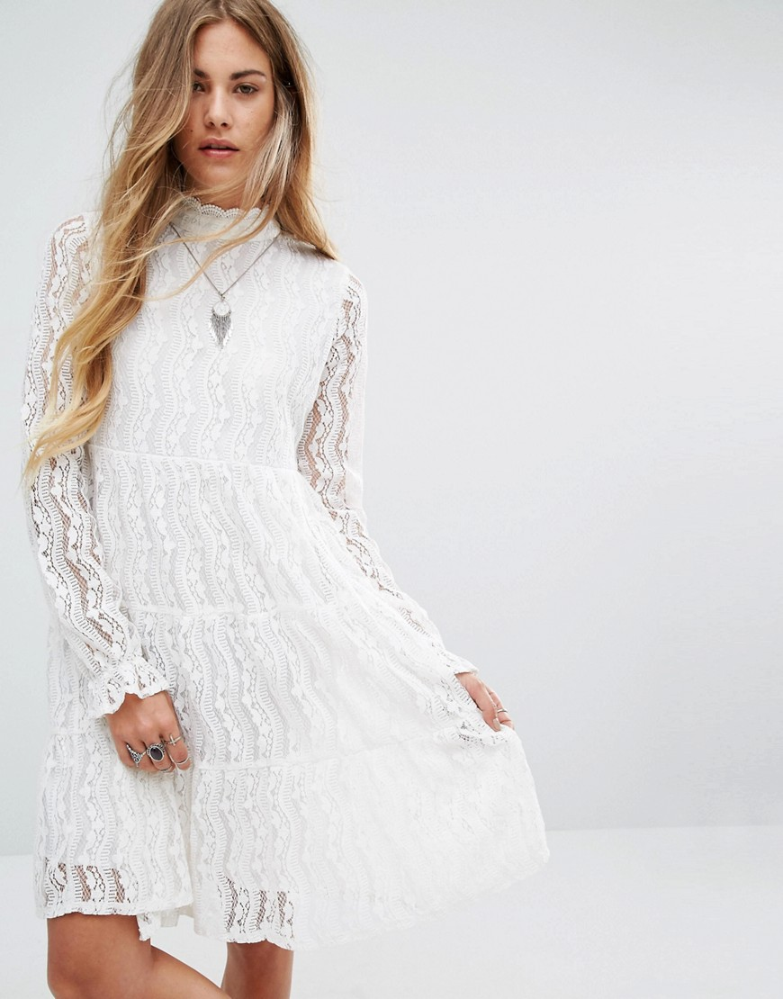 Navy London High Neck Smock Dress In Lace - White