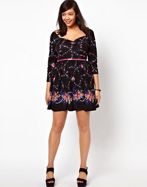Image 4 ofASOS CURVE Exclusive Skater Dress In Dark Floral