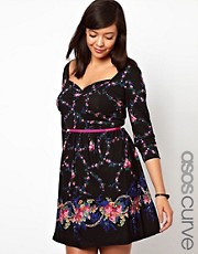 ASOS CURVE Exclusive Skater Dress In Dark Floral