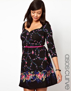 Image 1 ofASOS CURVE Exclusive Skater Dress In Dark Floral