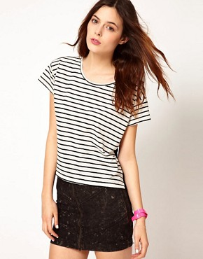 Image 2 ofLnA Striped T-Shirt With Mesh Back