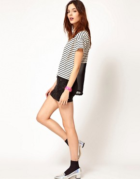 Image 4 ofLnA Striped T-Shirt With Mesh Back