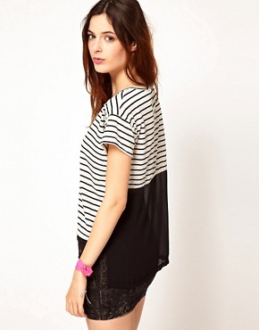 Image 1 ofLnA Striped T-Shirt With Mesh Back