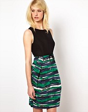 Orla Kiely Sleeveless Dress in Seaview Print Ottoman