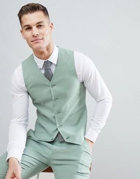 ASOS DESIGN Wedding Super Skinny Suit Waistcoat In Sage Green Linen