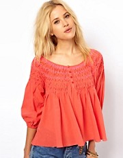 Free People Smocked Swing Top with Neon Stitching