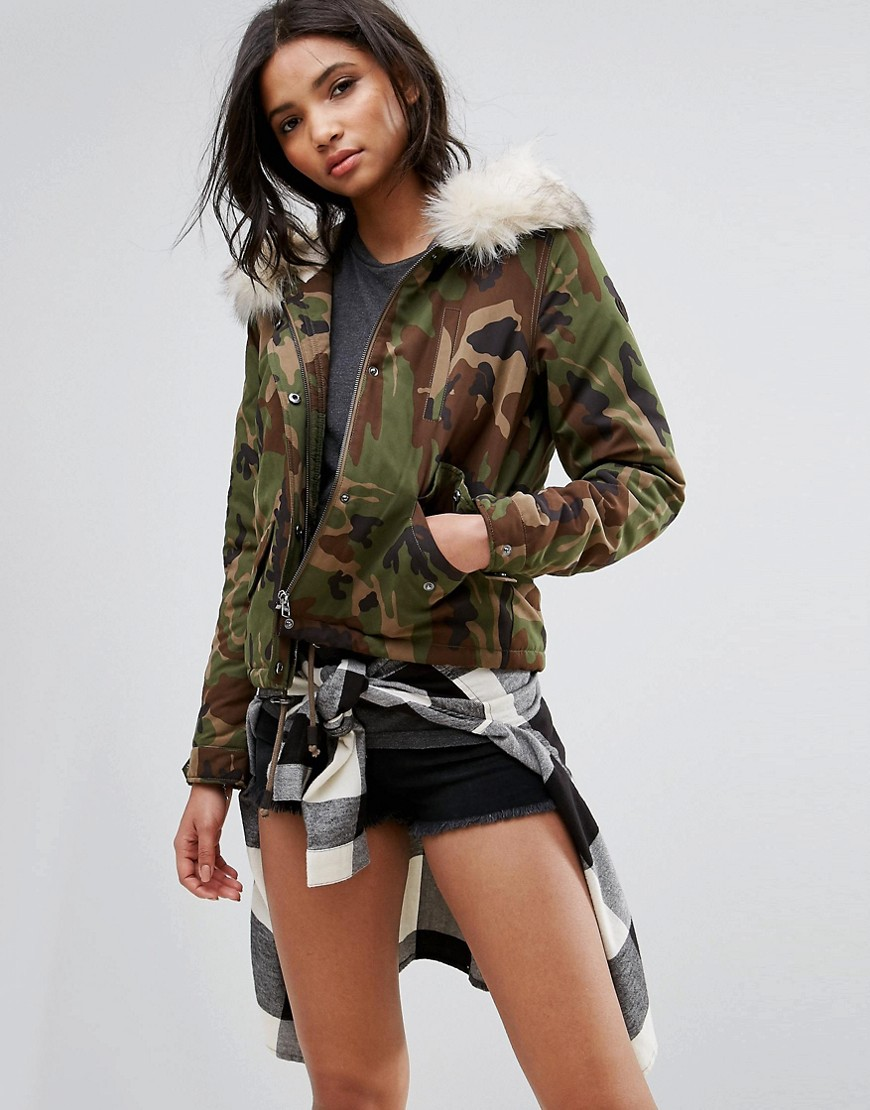 Only Camo Parka With Borg Lining - Camo