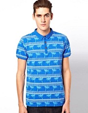 Brave Soul Palm Print Polo Shirt