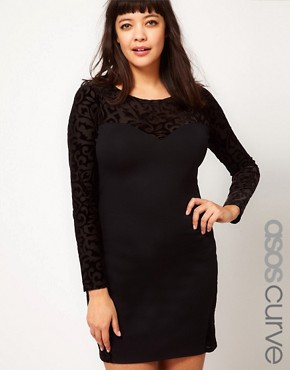 Image 1 ofASOS CURVE Dress with Flocked Mesh