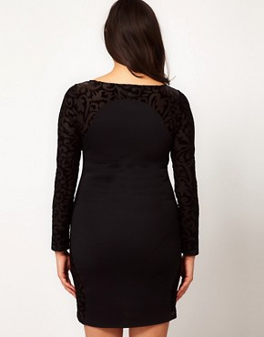 Image 2 ofASOS CURVE Dress with Flocked Mesh