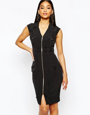 Lipsy Zip Pencil Dress With Shoulder Detail