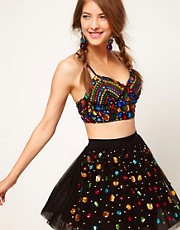 ASOS Bra Top With Allover Jewel Embellishment