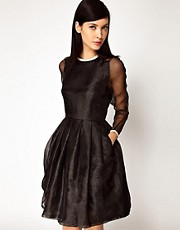 Antipodium XOXO Dress in Lurex Organza with Leather Trims