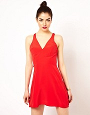 Boulee Woven Skater Dress In Silk