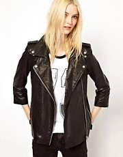 HIDE Jamie Longline Leather Biker Jacket in Black