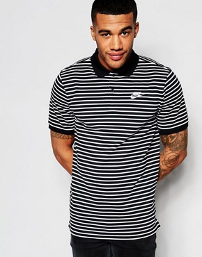 Nike Striped Polo In Black 832873-010