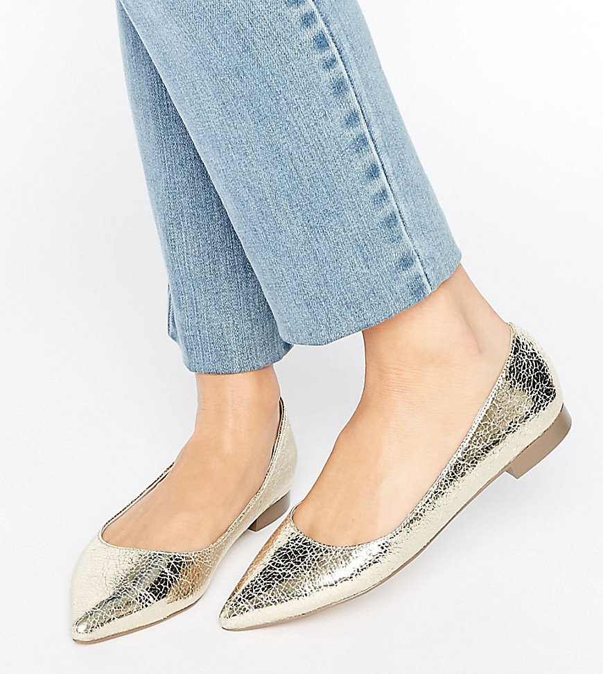 ASOS LOST Pointed Ballet Flats - Gold