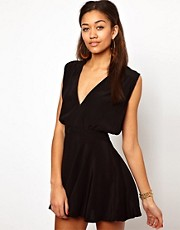 Motel Eloise Skater Dress with Plunge Neck