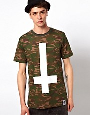 Abandon Ship T-Shirt with Camo Cross Print