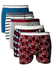 River Island Fairisle 5 Pack Trunks
