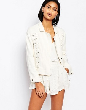 Moon River Lace Up Linen Jacket