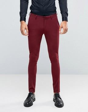 ASOS Super Skinny Suit Trousers In Dark Red