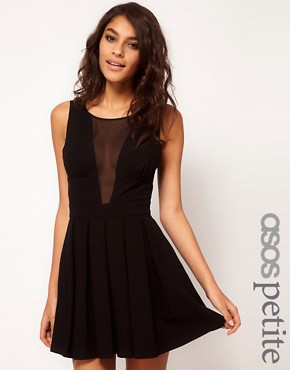 Image 1 ofASOS PETITE Exclusive Skater Dress With Chiffon Insert