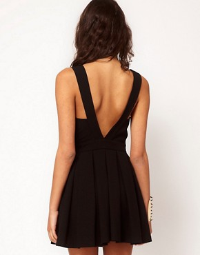 Image 2 ofASOS PETITE Exclusive Skater Dress With Chiffon Insert