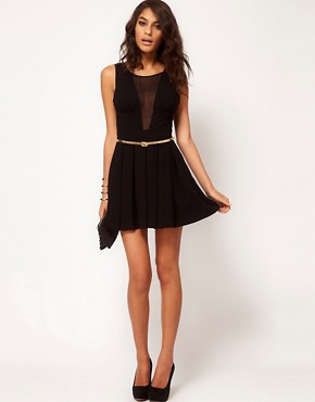 Image 4 ofASOS PETITE Exclusive Skater Dress With Chiffon Insert