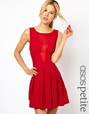 ASOS PETITE Exclusive Skater Dress With Chiffon Insert