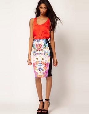 Image 1 ofASOS Pencil Skirt In Photographic Floral Print