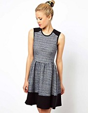 ASOS Sleeveless Skater Dress In Color Block